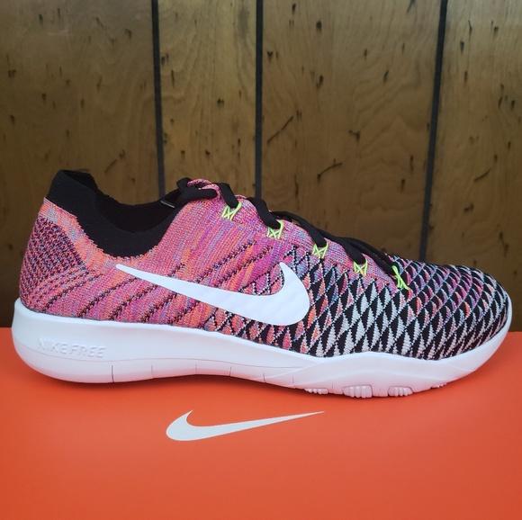 3b77918b640b4 Nike Free TR Flyknit 2 White Black Volt Pink 💥